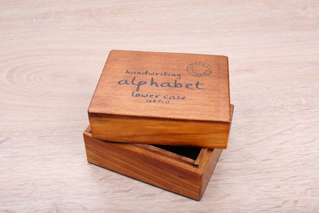 Wooden box on wooden background