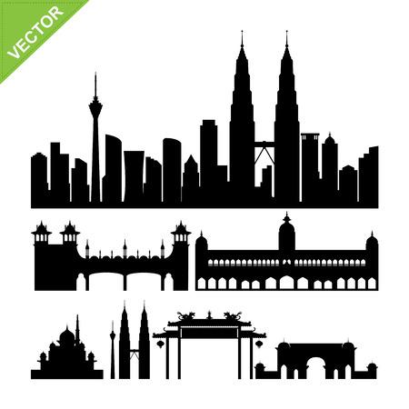 china town: Kuala lumpur, Malaysia landmark silhouettes vector Illustration