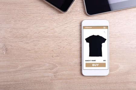 blank screen: Blank screen smartphone on wooden background