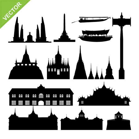 thai dance: Bangkok symbol and landmark silhouettes vector set 2 Illustration