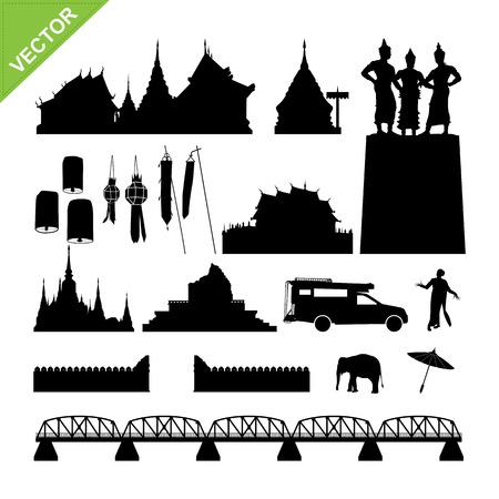 lanna: Chiang Mai symbol and landmark silhouettes vector