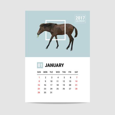 2017 January calendar, horse polygon Illustration