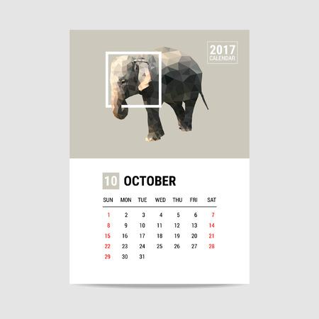 october calendar: 2017 October calendar, elephant polygon Vectores