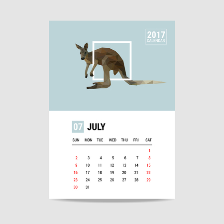 calendario julio: 2017 Calendario julio, polígono canguro Vectores