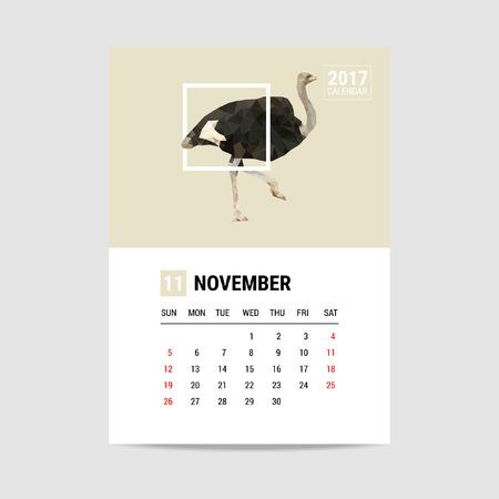 november calendar: 2017 November calendar, Ostrich polygon