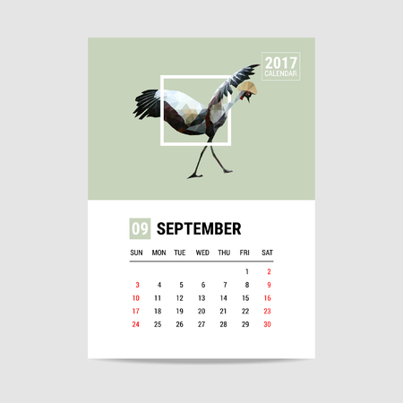 calendar september: 2017 September calendar, flamingo polygon Illustration