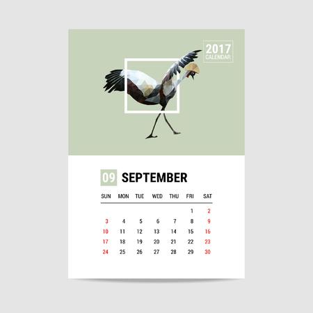 september calendar: 2017 September calendar, flamingo polygon Illustration