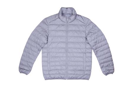 Isolierte Vorderansicht grau Jacke unten auf Holzuntergrund Standard-Bild