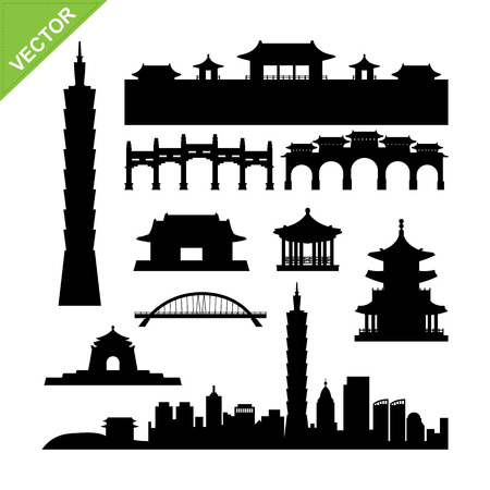 Taiwan, Taipei landmark silhouettes vector