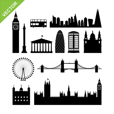 london   england: London, England landmark silhouettes vector