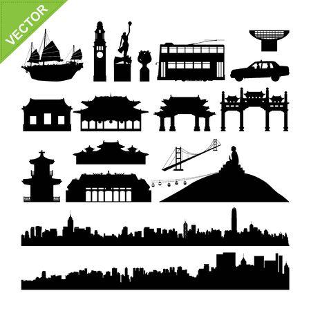 hong kong harbour: Hong Kong landmark and skyline silhouettes vector