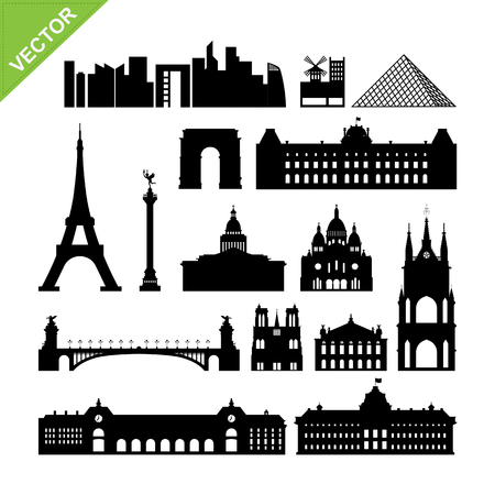 Paris, France landmark silhouettes vector
