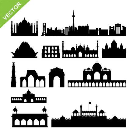 India, New Delhi landmark silhouettes vector