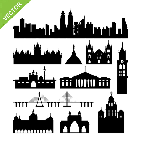 India, Mumbai landmark silhouettes vector Illustration