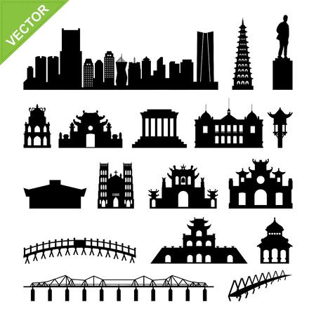 Vietnam, Hanoi landmark and skyline silhouettes vector
