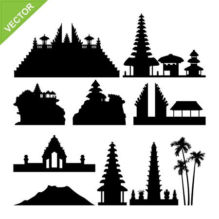 Bali, Indonesia landmark silhouettes vector