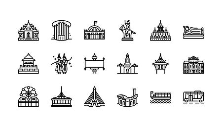 バンコクのシンボルとランドマークアイコンセット2