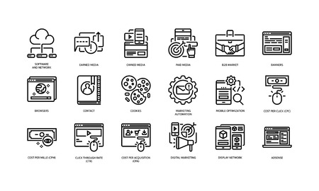 Digital marketing icons set 1