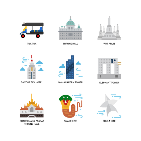 Bangkok symbols and landmarks icons Stock Illustratie