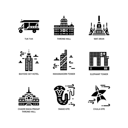 Bangkok symbols and landmarks icons Illustration