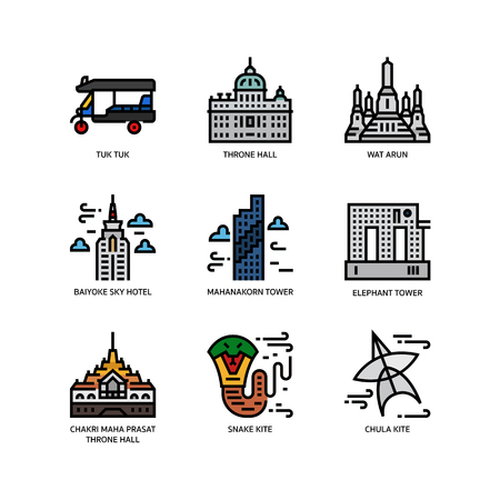 Bangkok symbols and landmarks icons 矢量图像