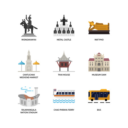 Bangkok symbols and landmarks icons 일러스트