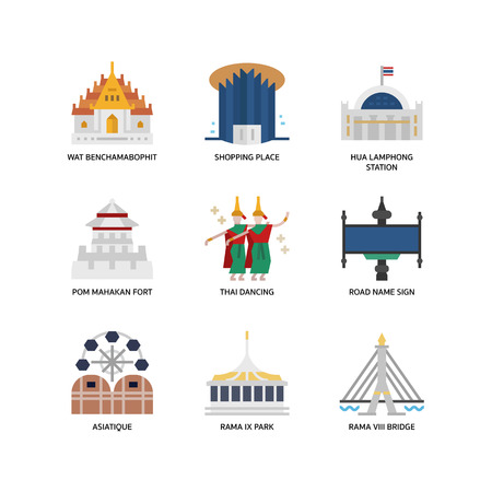 Bangkok symbols and landmarks icons 版權商用圖片 - 108434570