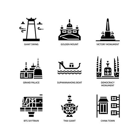 Bangkok symbols and landmarks icons Stock Illustratie
