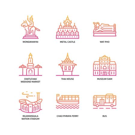 Bangkok symbols and landmarks icons Vektorové ilustrace