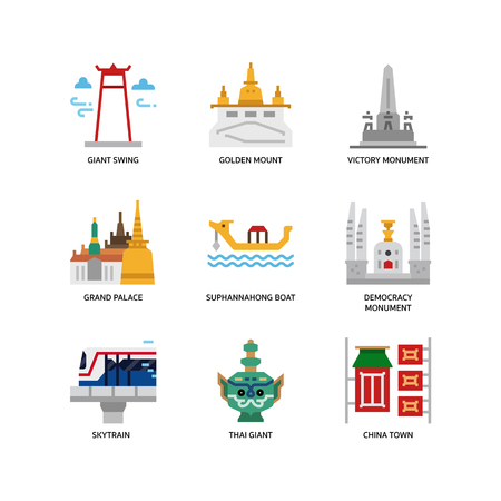 Bangkok symbols and landmarks icons  イラスト・ベクター素材