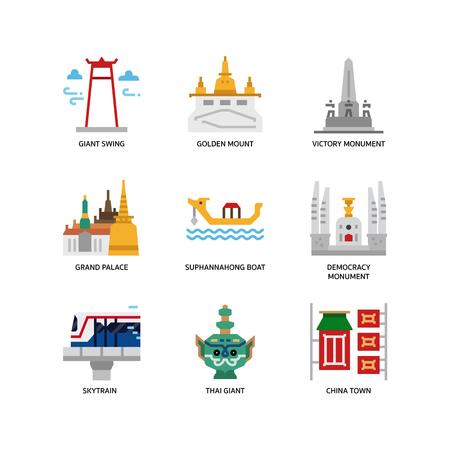 Bangkok symbols and landmarks icons Illustration