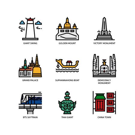 Icone di simboli e punti di riferimento di Bangkok