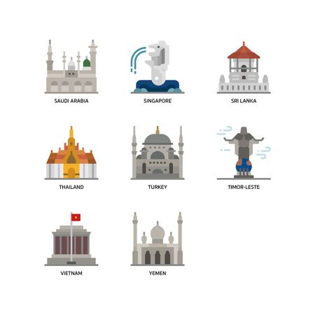 Asian cities and counties landmarks icons set 5
