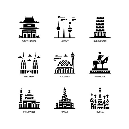 Asian cities and counties landmarks icons set 4