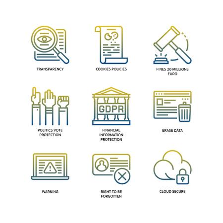 General Data Protection Regulation (GDPR) icons Vektoros illusztráció