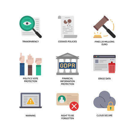 General Data Protection Regulation (GDPR) icons Vectores