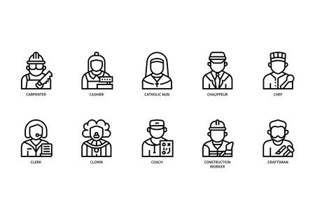 Jobs and occupations icons set Ilustração