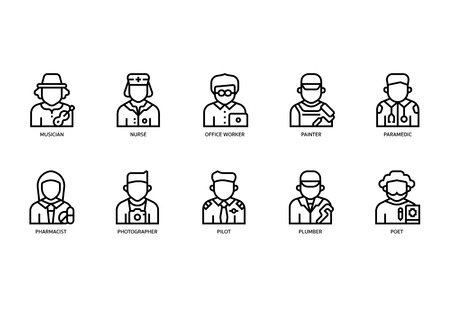 Jobs and occupations icons set Иллюстрация