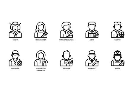 Set di icone di lavori e occupazioni Vettoriali