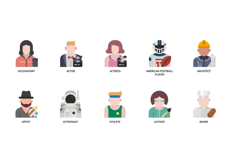 Jobs and occupations icons set 向量圖像