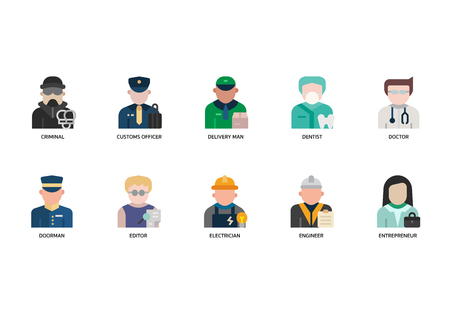 Jobs and occupations icons set  イラスト・ベクター素材