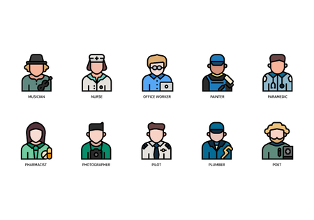 Jobs and occupations icons set Çizim
