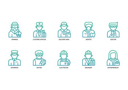Jobs and occupations icons set Illusztráció