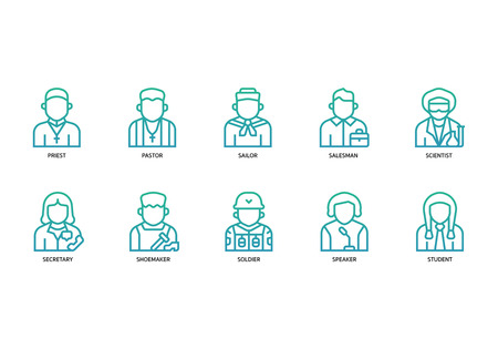 Jobs and occupations icons set Ilustracja