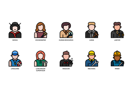 Jobs and occupations icons set Ilustrace