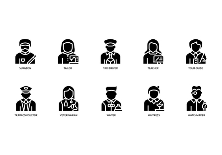 Jobs and occupations icons set Illustration