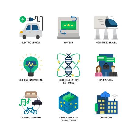 Technologies Disruption icon set