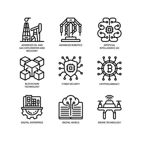 Technologies Disruption icon set 版權商用圖片 - 122448410