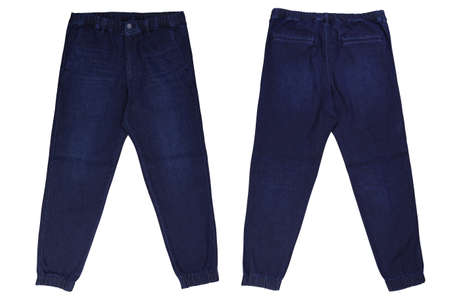 Front and back blue sweat jeans on white