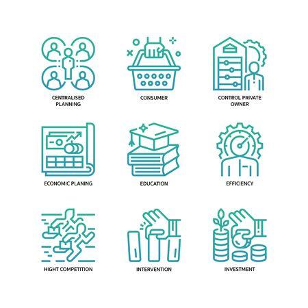 Conjunto de iconos de economía de mercado